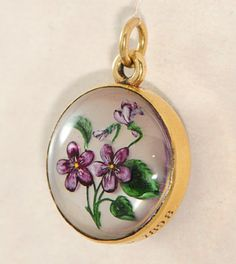 Victorian 18 Ct Gold Pansy Essex Crystal Pendant 1898
