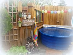 Welcome to our Red-Neck Hot Tub.  I t actually do es not contain hot wa ter ,  but instead it is a cool place to unwind  on a hot summ...