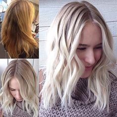 """She decided to leave her brassy hair in 2015 and we're so glad she did, because this rooty platinum by @davideddington is gorgeous! We were lucky enough get him to spill his detailed formula for this transformation. Here it is: """"For this transformation we used: Full head highlights mixed in 3 batches: 1. #Redken #Flashlift+30vol(9%)+Olaplex. 2. Redken Flashlift+35vol(11%)+Olaplex. 3. Redken Flashlift+40vol(12%)+Olaplex. In between foils I mixed up Schwarzkopf Blonde Me+50vol(15%)+Olaplex (I…"""