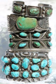 vintage turquoise cuffs