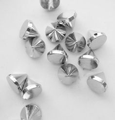 100 Silver Rivet Stud Spikes  10mm  Sew on  by SuppliesSundries, $5.75