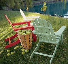 Adirondack Chairs apples & a view