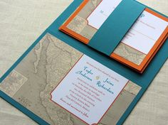 Mexico Wedding Invitation Booklet -  Mexican Vintage Map Destination Sample on Etsy, $5.75