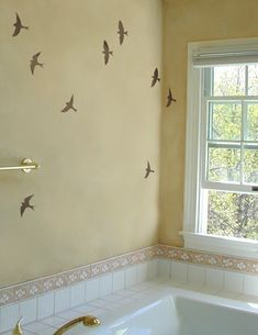 Stencils Flying Birds 3 pc kit - Reusable Bird stencils for walls - DIY decor. $12.95, via Etsy.