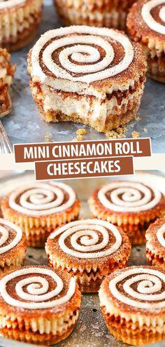 With cinnamon sugar swirls mixed into mini cheesecakes, these Mini Cinnamon Roll Cheesecakes are a super fun recipe! Cinnamon Roll Cheesecake, Best Cheesecake, Easy Cheesecake Recipes, Dessert Recipes, Wafer Cookies, Mini Cheesecakes, Baking Tips, Cinnamon Rolls, Swirls