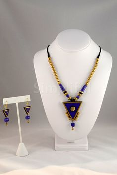 Terracotta Golden Triangles Necklace and Earring Set - Indigo - TC-SET-LY531005