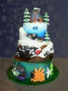 40th Birthday Cake - do different tiers and each tier representing a different aspect of interests/likes.
