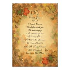 "Fall leaves wedding Invitation 5"" X 7"" Invitation Card"