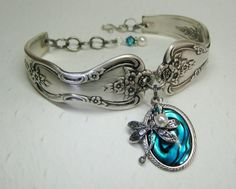Dragonfly Spoon Bracelet, Magnolia 1951, Blue Paui Shell, White Pearls, Spoon Jewelry