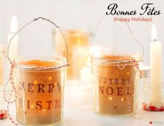 Stunning Christmas decorations using empty jars of Bonne Maman