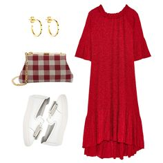 Slip-On Sneakers - Contrast a sleek slip-on with a feminine off-the-shoulder dress rendered in a punchy, shimmery hue. Accessorize with gold hoops and a gingham-print bag.