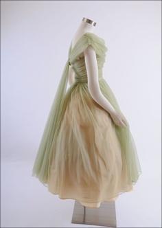 1950's Nylon Chiffon Party Dress Trained Back - XS - Purchase on Ruby Lane $285.00