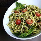 Zucchini Noodles with Vegan Mint Pesto #vegan #recipes