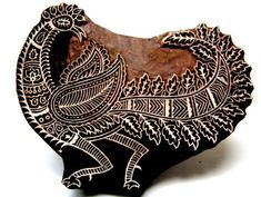 Large Beautiful Peacock Indian Wooden Block Textile Stamp Handcarved