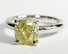 Yellow Diamond Engagement Ring in Platinum