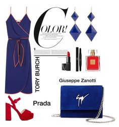 """#blueandred"" by zinka-kartinka on Polyvore featuring Tory Burch, Marie Hélène de Taillac, Giuseppe Zanotti, Prada, NARS Cosmetics, Yves Saint Laurent and Avon"