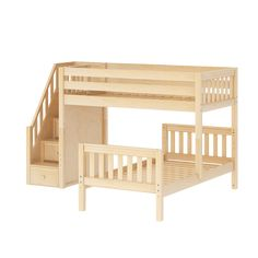 3575977b61c06 Maxtrix STACKER Low Bunk Bed with Stairs Twin Size Natural