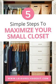 Are you struggling to organize the small closet in your bedroom? Learn the five steps you need to take to organize a reach-in wardrobe. Small Closet Organization, Clothing Organization, Organization Ideas, Clothing Racks, Bedroom Organization, No Closet Solutions, Small Space Solutions, Small Closets, Open Closets