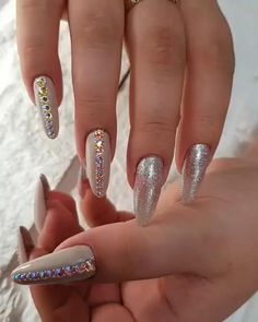 In seek out some nail designs and some ideas for your nails? Here's our set of must-try coffin acrylic nails for modern women. Summer Acrylic Nails, Cute Acrylic Nails, Glitter Nail Art, Cute Nails, Pretty Nails, Spring Nails, Summer Nails, Fancy Nails Designs, Cool Nail Designs