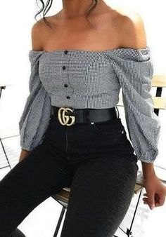 fall outfit ideas / gingham off the shoulder blouse