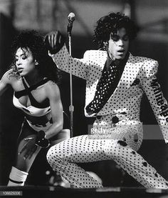 Prince and Cat Glover perform on stage at Feijenoord stadion on 17th August 1988 in Rotterdam Netherlands