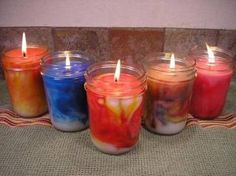 DIY How to Make Marbled Container Candles