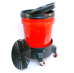 Car-Washer-Detailing-Kit-Bucket-Dolly-5-Gallon-Bucket-Grit-Guard-and-Seal-Lid