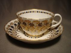 18th c English Porcelain Dr Wall Worcester cup / saucer HANDPAINTED GILDING | eBay