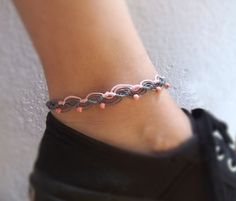 Items similar to Anklet macrame bracelet with pink beads in pink and gray colours Macrame Bracelets, Colorful Bracelets, Anklet, Pink Grey, Gifts For Her, Gray Color, My Etsy Shop, Craft Ideas, Beads