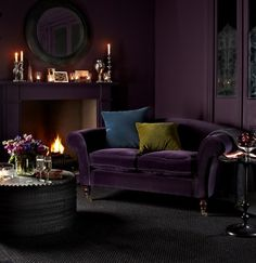 Purple velvet sofa. What is more luxurious than that?