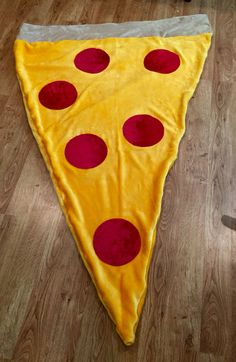 """Based on the idea of the mermaid tail blanket, I used minky fabric to make a """"pizza tail"""" for my son."""