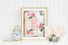8x10 Monogram Art, Nursery, Letter, Initial, Print, Girl, Wall Decor,roses,sketch font, green,wood,pink,custom digital Printable Gray Frames