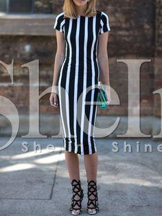 Vestido rayas verticales -negro 13.57