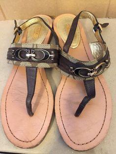 971f6f90a336 COACH Sammy Thong Sandals Size 7.5 Brown Gold Logo CC Buckle Signature  Fabric