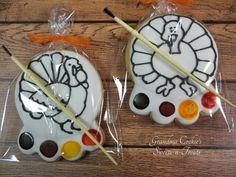 Grandma Cookies Sweets-N-Treats: Thanksgiving.  Turkey PYO cookies. Paint Your Own.