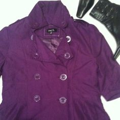 Trench Coat Purple short sleeve trench coat. Back is pleated the front is flowy buttons up  front. Two  set of buttons side by side but only one is for buttoning closed. There's a collar ,waist is somewhat cinched and the sleeves are pleated  for a puffy look. It absolutely adorable. Lined underneath,actually you could wear it also as a dress with leggings. Awesome jacket Rue21 size medium . 100% polyester smoke free stain free Rue 21 Jackets & Coats Trench Coats