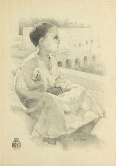 Peinture Algérie - Petit garçon sur un toît von Paul Alexandre Alfred Leroy