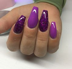 64 Trendy Purple Nail Art Designs and Ideas You Have to Try - nails - Purple Glitter Nails, Purple Acrylic Nails, Purple Nail Art, Purple Nail Designs, Cute Acrylic Nail Designs, Best Acrylic Nails, Nail Art Designs, Black And Purple Nails, Lavender Nails