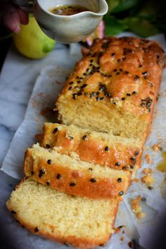 Lemon Passionfruit Loaf with Coconut cream- delicious and moist Loaf Recipes, Lemon Recipes, Sweet Recipes, Cake Recipes, Cooking Recipes, Passionfruit Recipes, Passionfruit Slice, Passionfruit Cheesecake, Cupcake Cakes