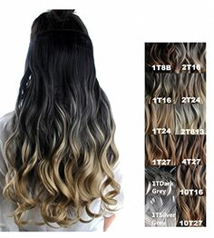 Feshfen 24 one piece 34 full head clip in hair extensions long feshfen 24 long curly ombre two tone synthetic hair extensions clip in on hairpieces 5 clips one piece 34 full head cosplay partyfor women blackt16 black to pmusecretfo Images