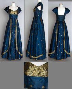 1950 Blue silk taffeta w/ metallic gold brocade dress, fashioned from Indian sari. perfect for a LRP elf dress Kurti Neck Designs, Kurta Designs Women, Saree Blouse Designs, Gold Brocade Dress, Brocade Dresses, Blue Silk Dress, Gold Dress, Long Gown Dress, Sari Dress