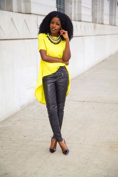 Style Pantry   Baby Doll Blouse + Quilted Leather Pants
