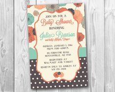 Coral and Teal Poppies Baby Shower Invitation