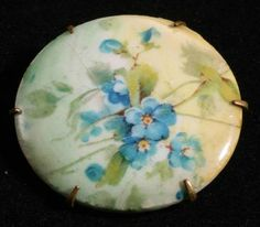 Antique Hand Painted Porcelain Forget Me not Flower Pin Brooch