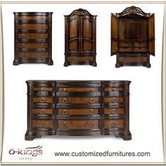 Ensembles de meubles de chambre à coucher d'antiquité en bois solide, meubles…