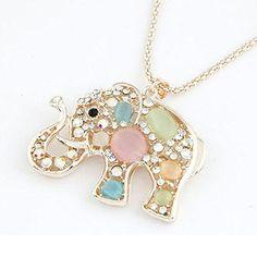 Amonfineshop(TM) Korean Fashion Strass Diamond Kristall Elefanten-Anhänger lange Halskette