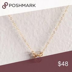 """Delicate CZ diamond dainty gold filled necklace Sparkly and shining 4mm CZ diamond is suspended on a gold filled chain. Will not tarnish or turn. Choose length: 15""""-18"""". Made to order. Perfect holiday gift! Jewelry Necklaces"""