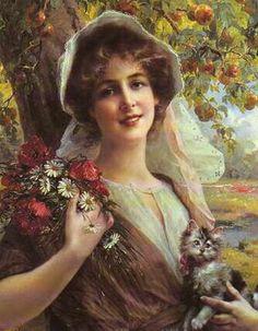 """Under the Apple Tree"" -- by Emile Vernon (British, 1872–1919)"