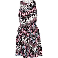 River Island Dress. This is such a cute dress! love the pops of colour and sharp pattern