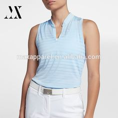 Wholesale Golf Shirts Stripe Fabric Sleek V - Neck Design Custom Sleeveless Polo Shirt